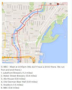 Milwaukee Running Club Group - Pub Run Crawl Route