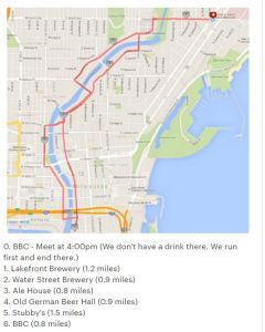 Milwaukee Running Club Group - Pub Run Crawl Route